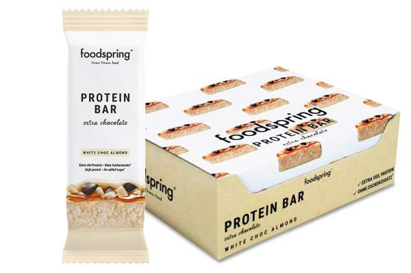 foodspring Protein Bar Extra Riegel White Chocolate Almond 12x 65g