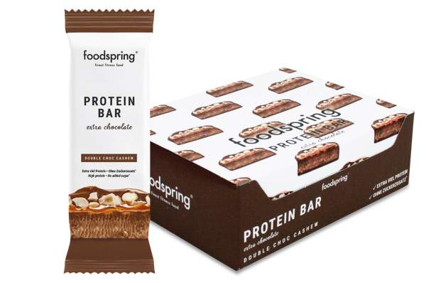 foodspring Protein Bar Extra Riegel Double Chocolate Cashew 12x 65g