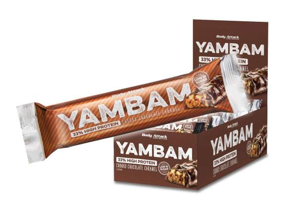 Body Attack Yambam Protein Riegel Chunky Chocolate Caramel 18x 40g